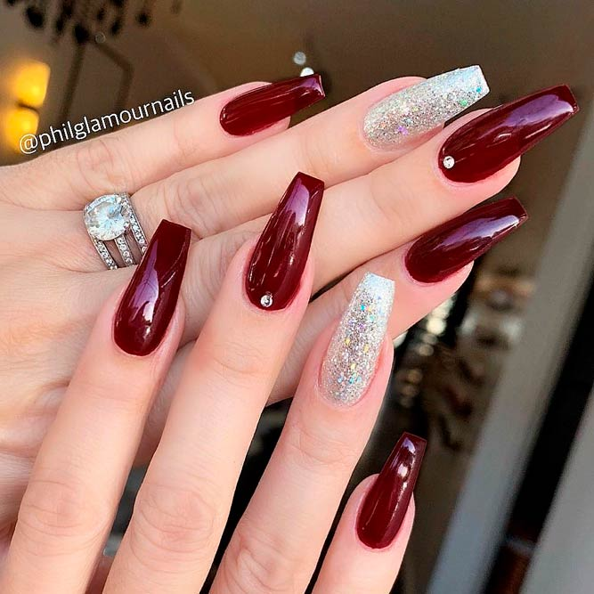Long burgundy coffin nails with silver glitter