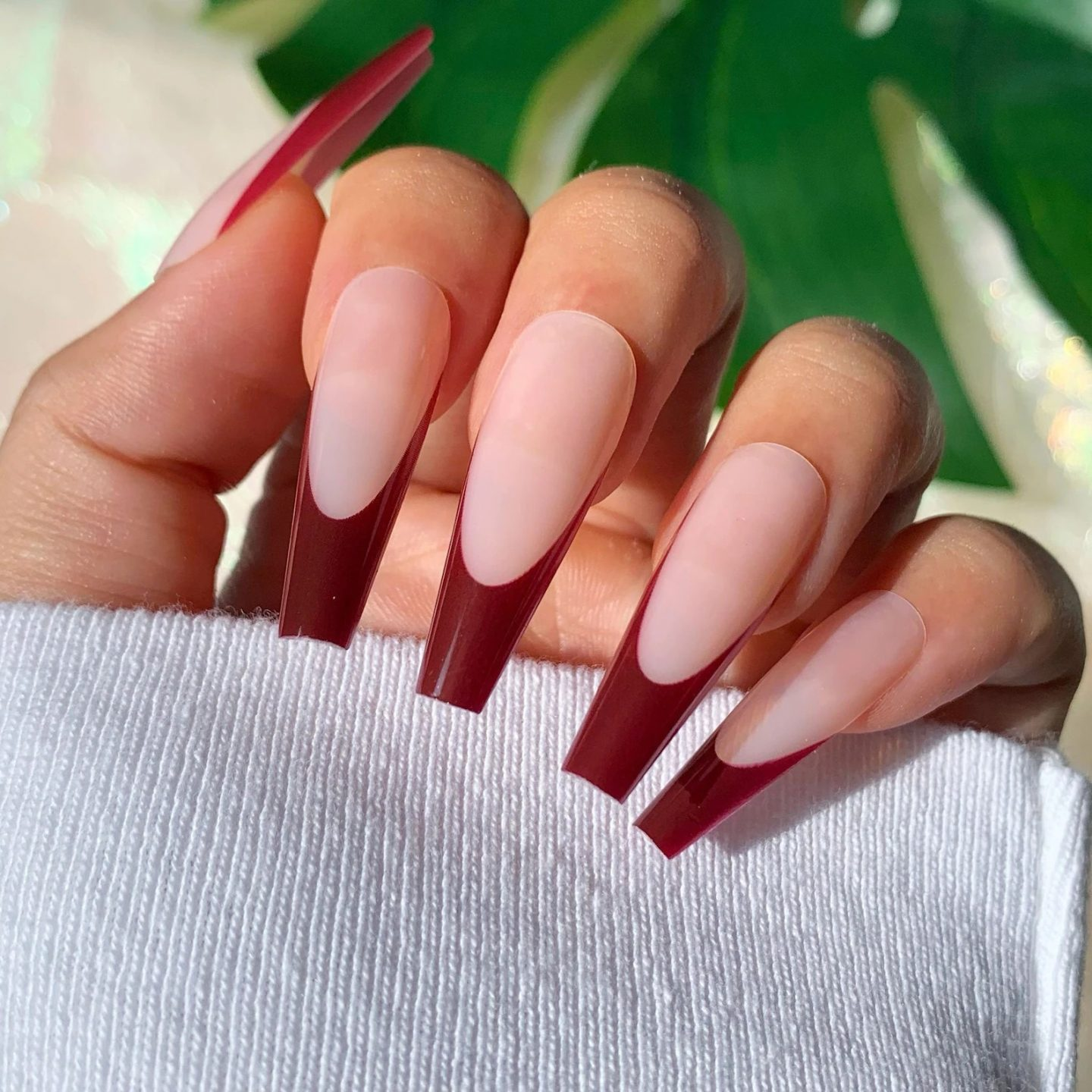 Matte wine red French tip nails