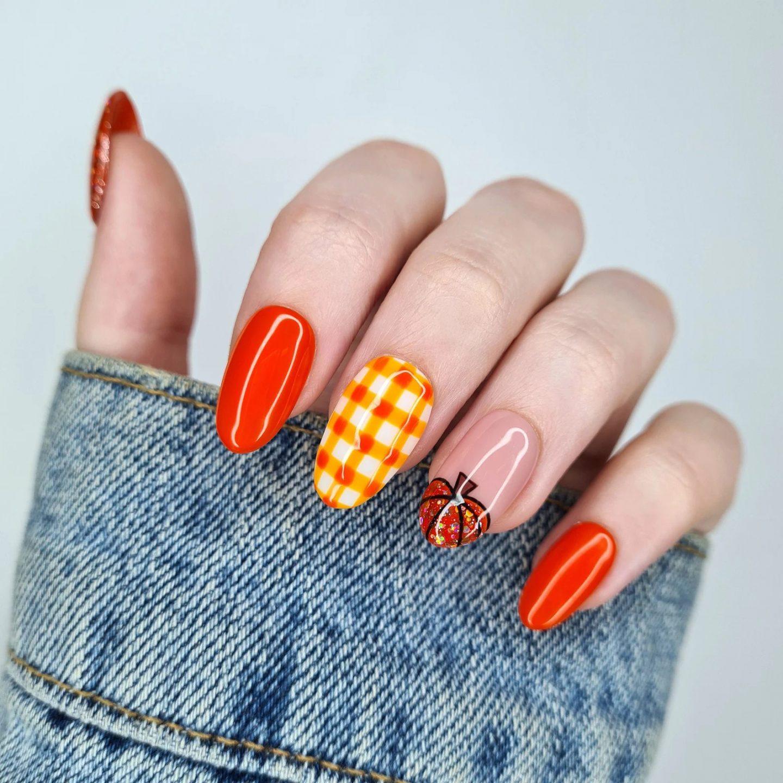Orange pumpkin patch nails with plaid