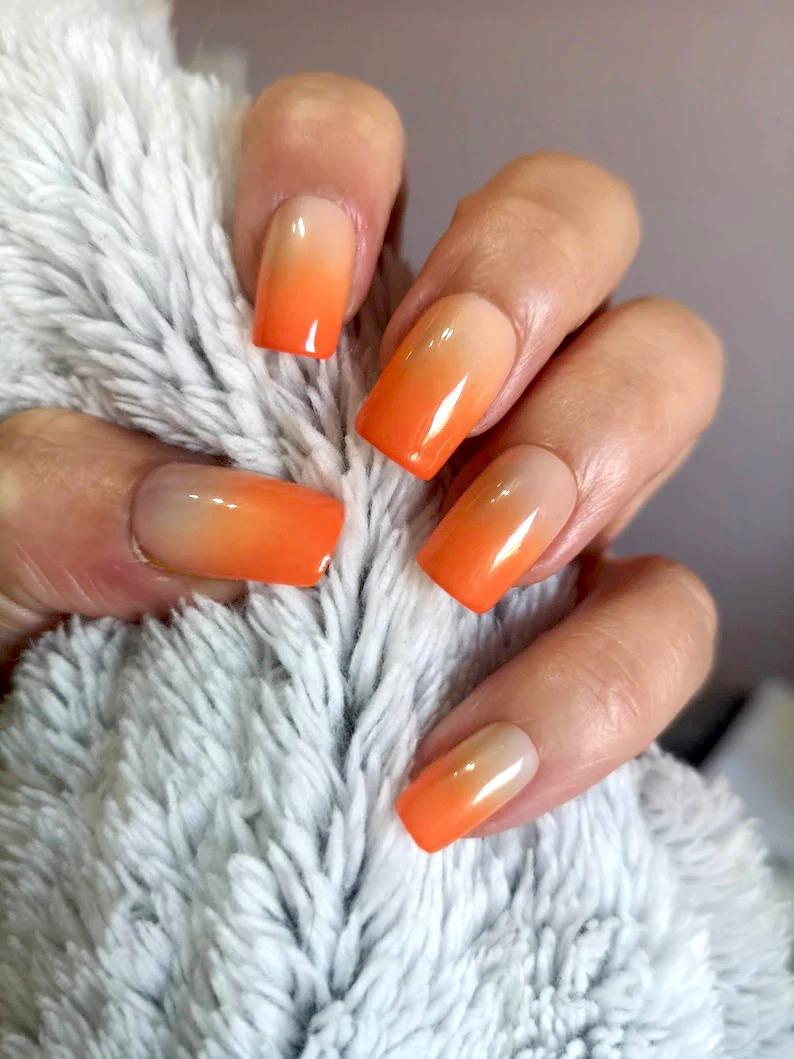 Burnt orange ombre nail design