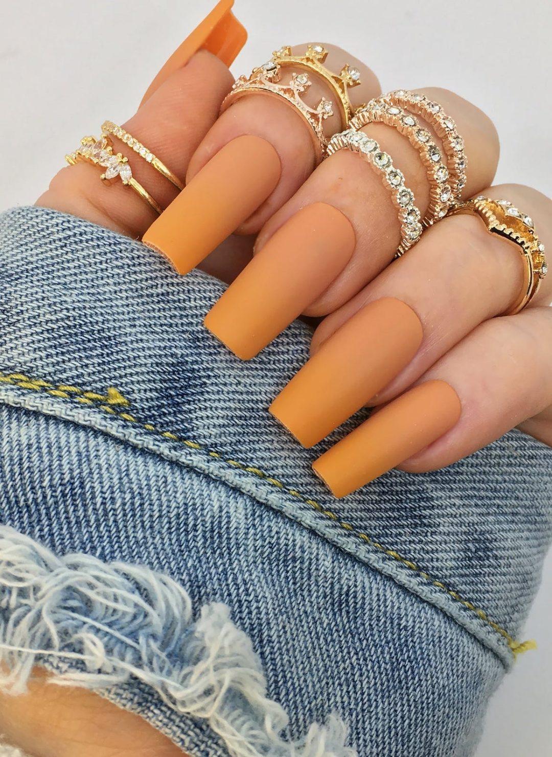 Matte pumpkin pie coffin nails