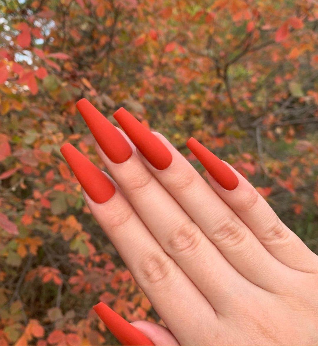 Long coffin pumpkin spice nails