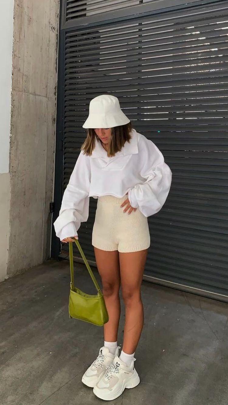 Oversized white hoodie with biker shorts