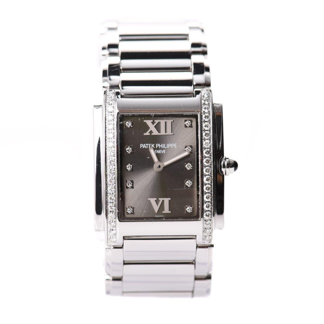 Patek Philippe Stainless Steel Diamond Quartz Watch