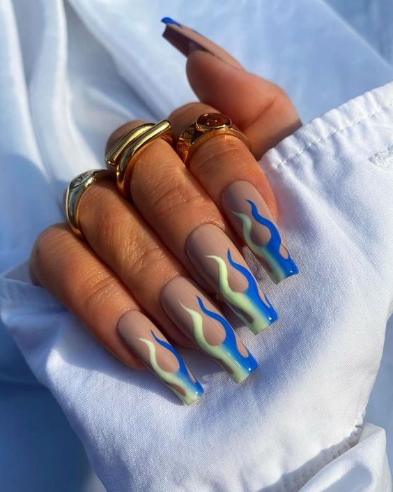 Blue and green ombre flame nails