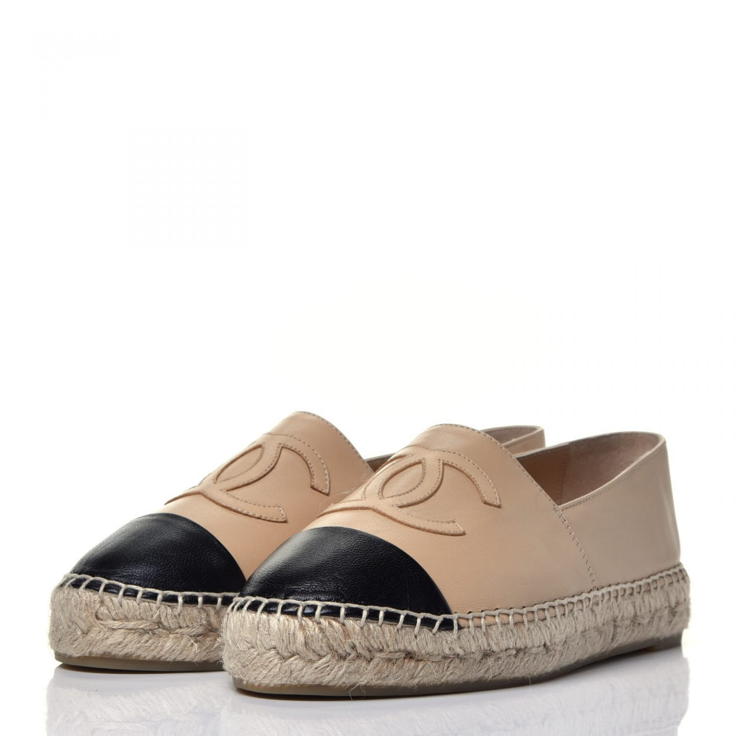 Two tone lambskin Chanel espadrilles from Fashionphile