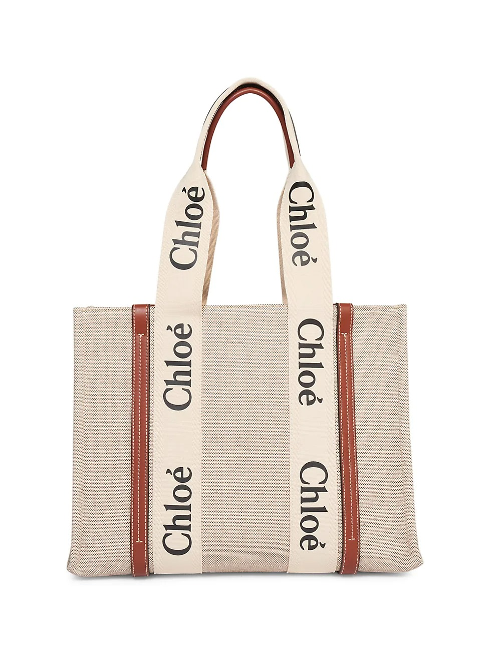 Chloe Medium Woody Canvas Tote in beige for best designer bags for travel