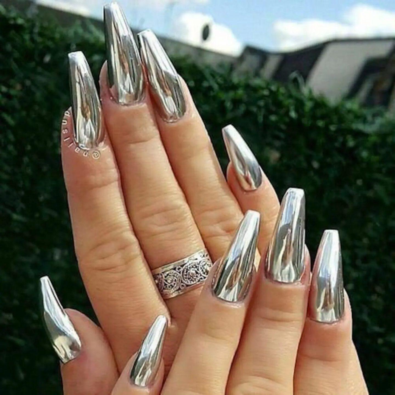 Long silver chrome nails