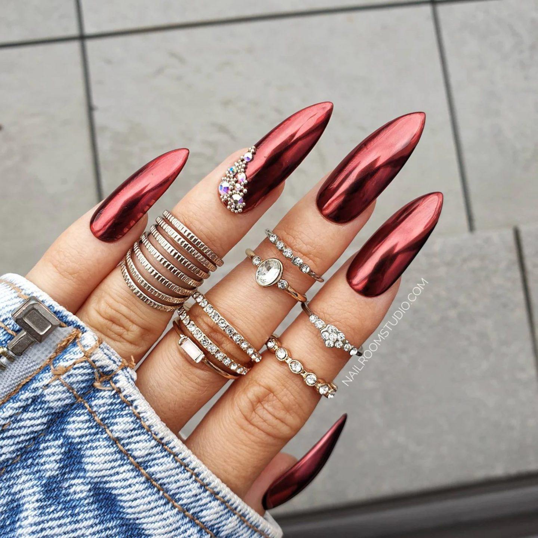 Red stiletto chrome nail designs
