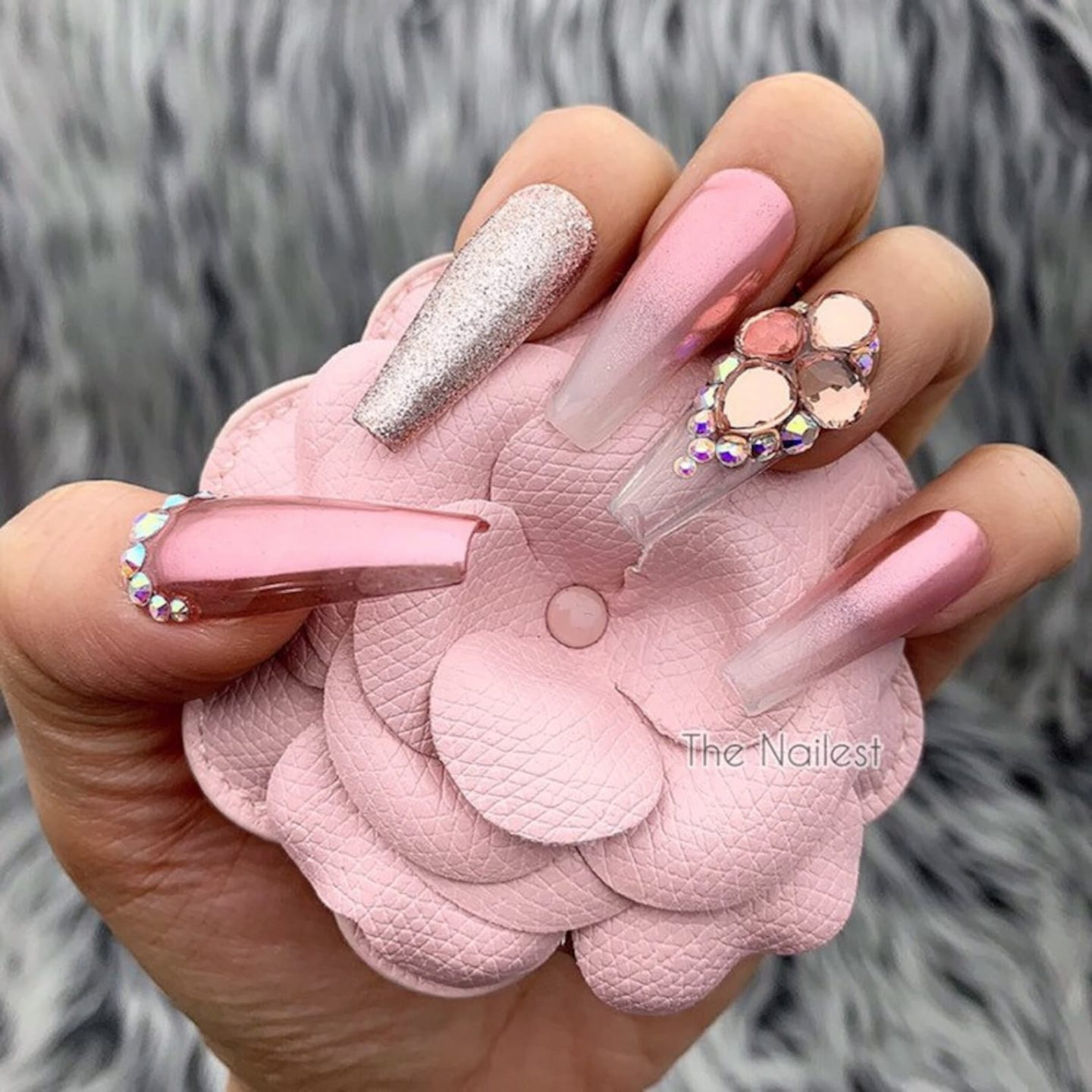 Cute rose gold French tip nails