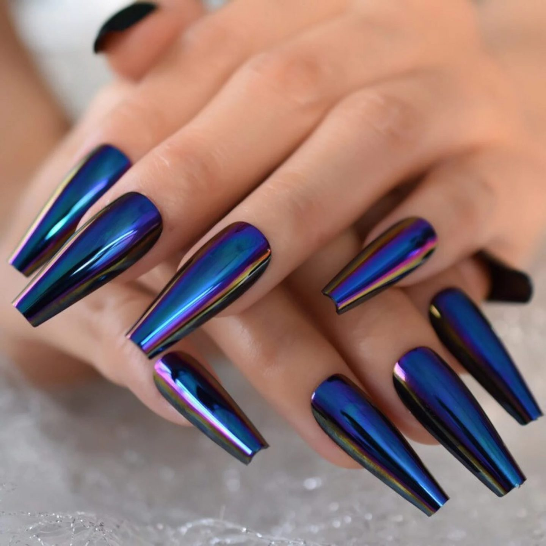 Long metallic blue chrome nails
