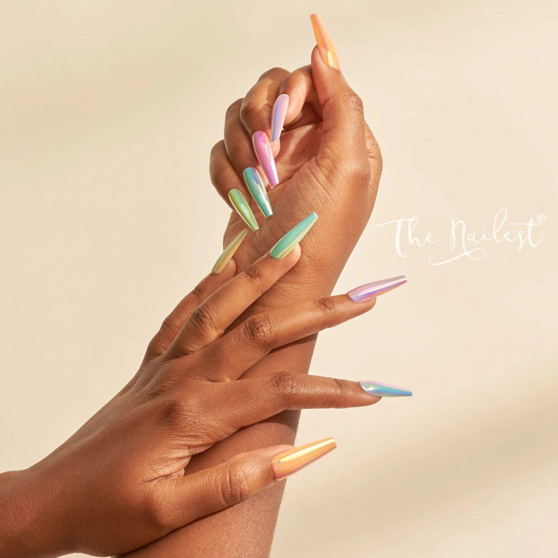 Pastel ombre chrome nails