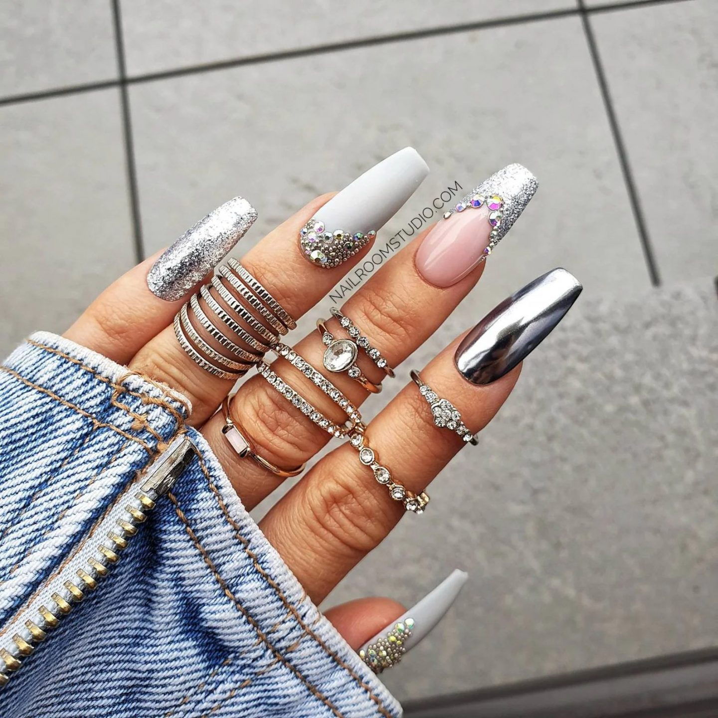 Cute grey French tip nails with chrome effect
