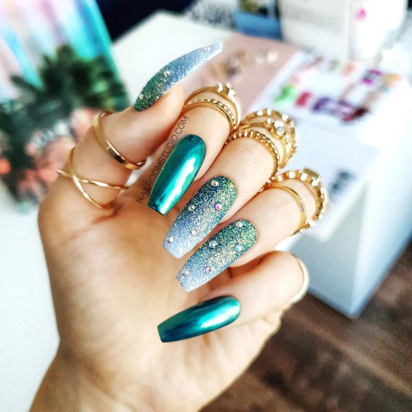 Beautiful turquoise chrome coffin nails