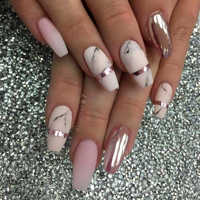 Cute white marble nails with pink chrome nail art