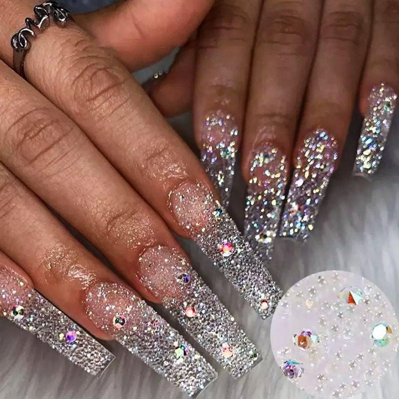 Cute long diamond nails