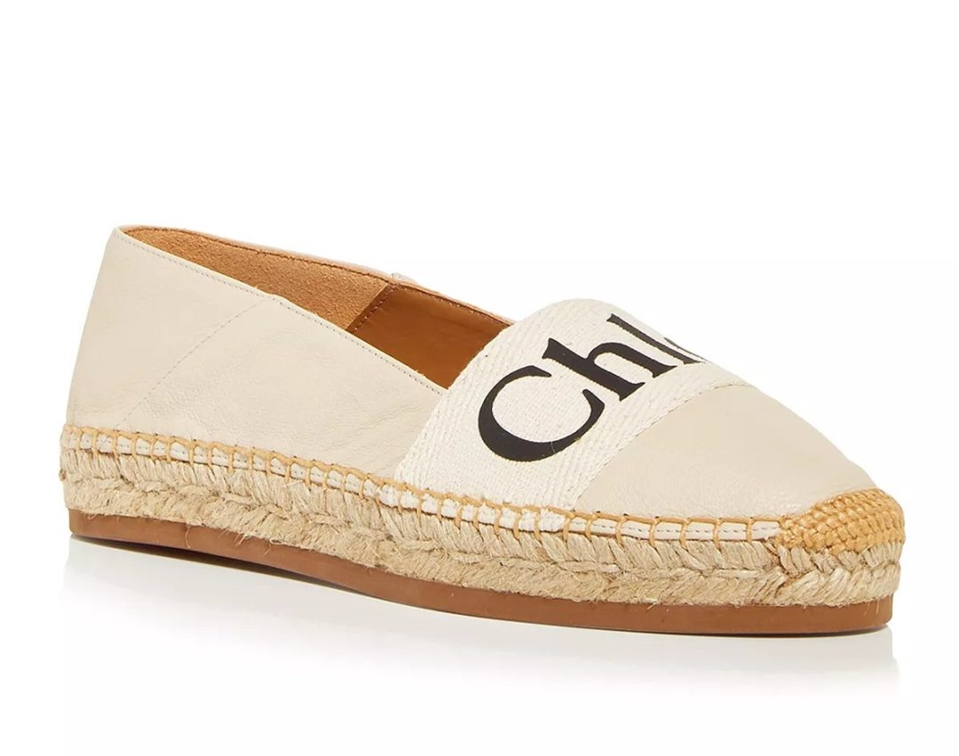 Chloé Woody Leather & Canvas Espadrilles in beige