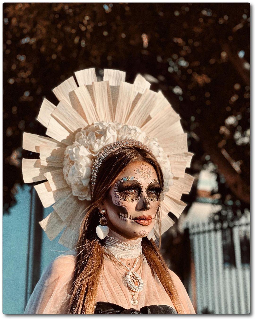 White glamorous dia de los muertes skull makeup