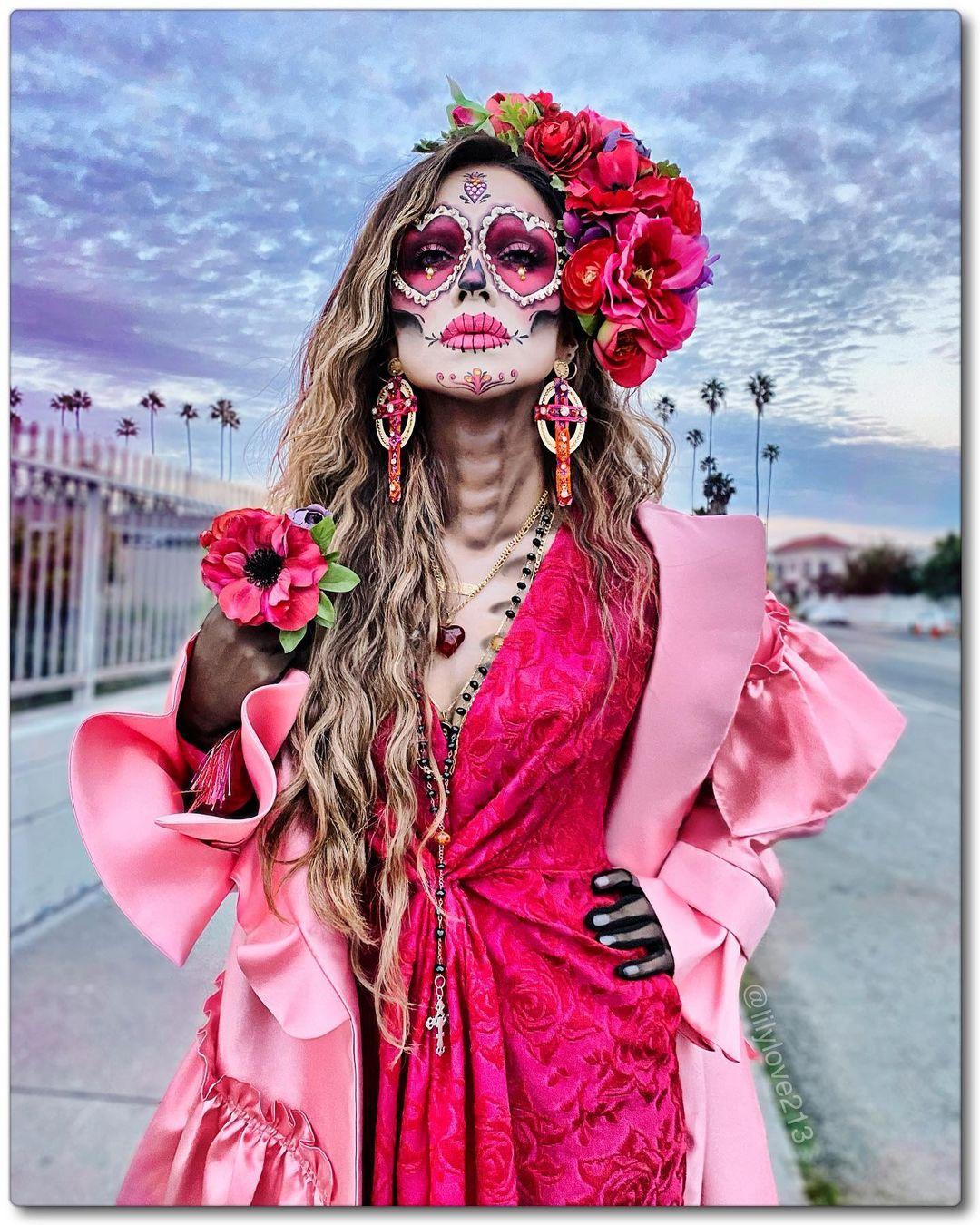 Pink dia de los muertes skull makeup