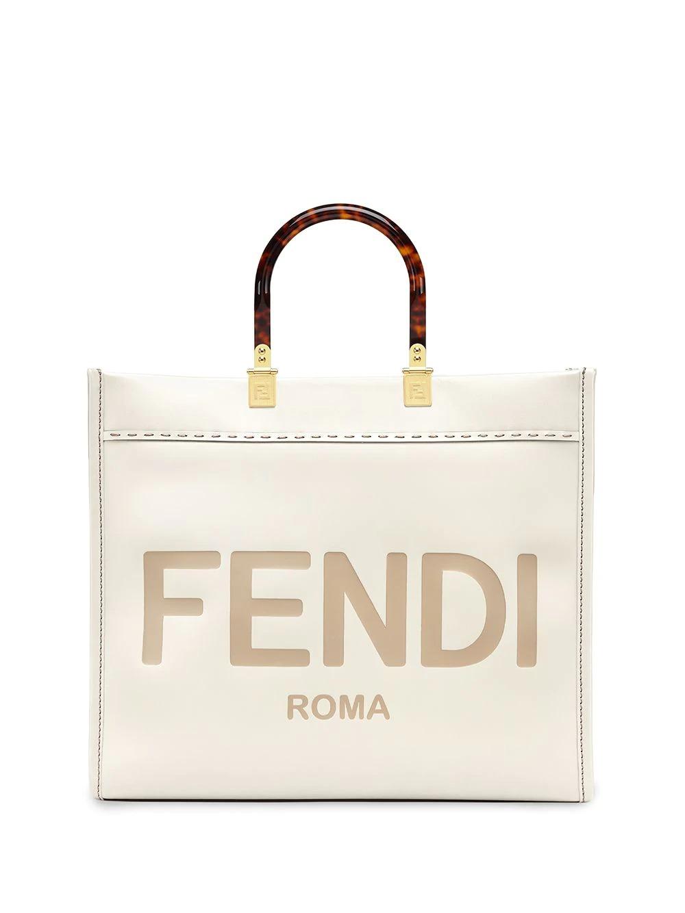 Fendi Medium Sunshine Shopper in white for best designer tote bags for travel
