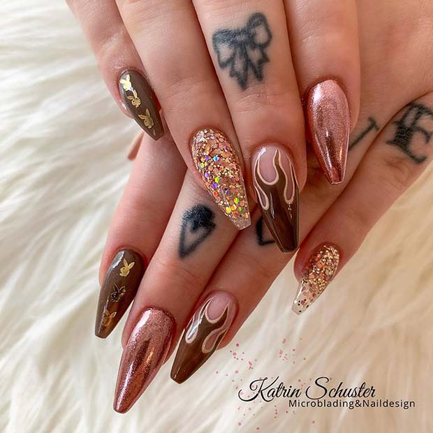 Brown flame nails with glitter