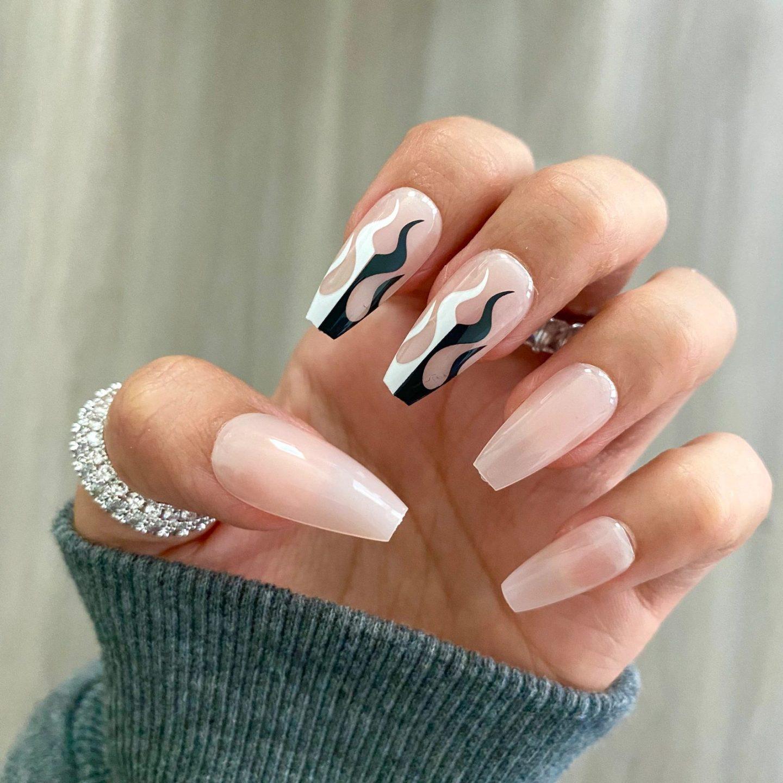 Minimalist black and white flame nails