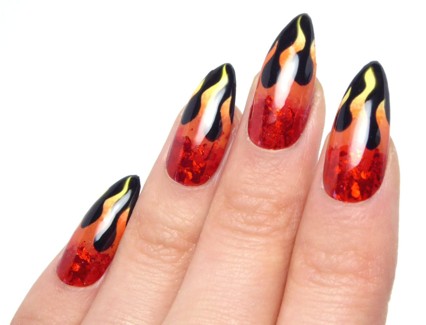 Holographic black and red flaming fire nails