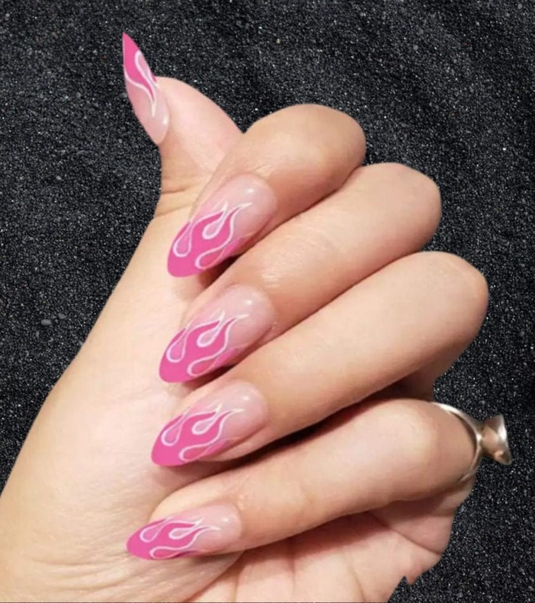 Hot pink flame nails