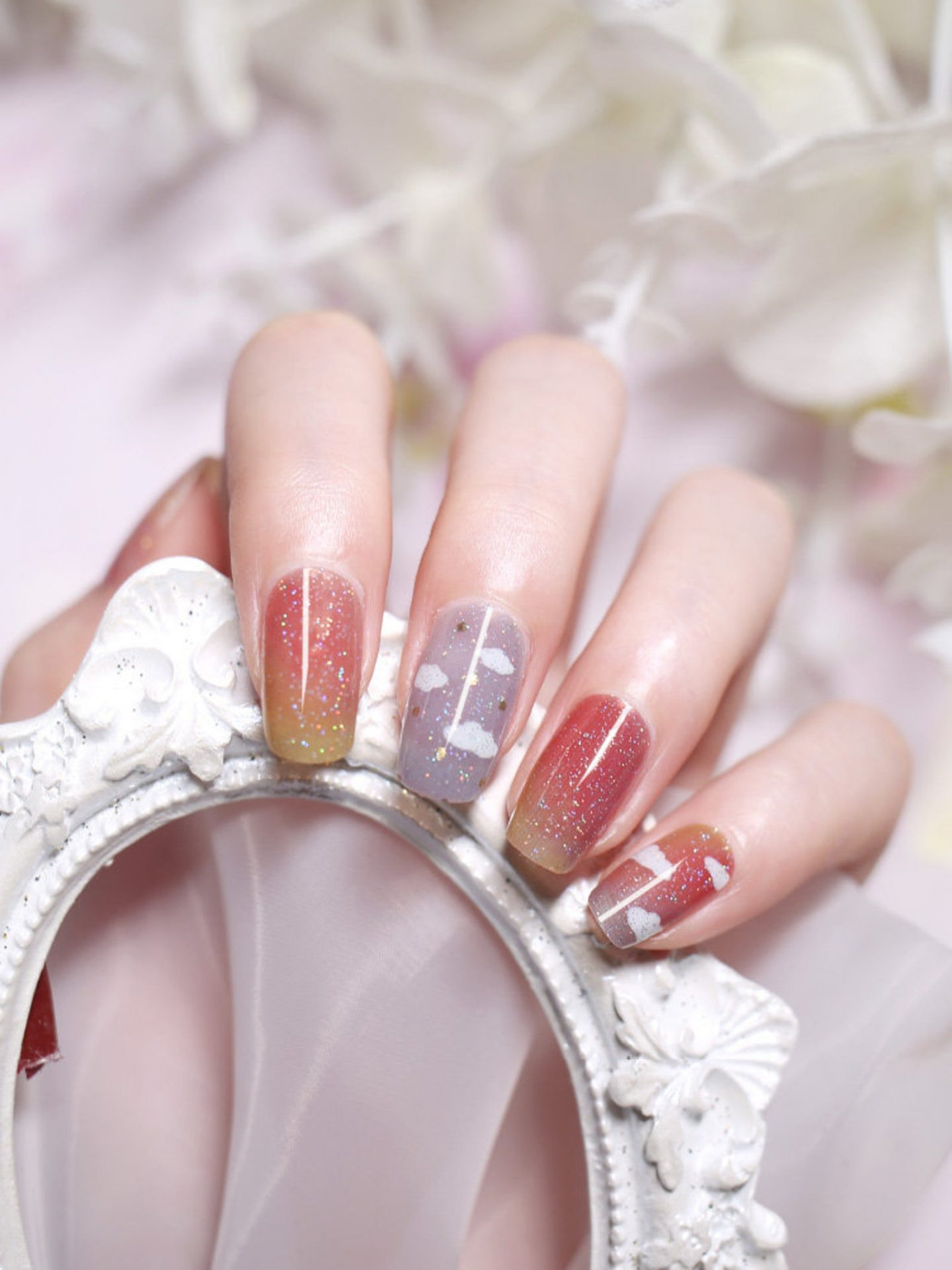 Cute jelly glitter gel nail wraps with cloud nail art