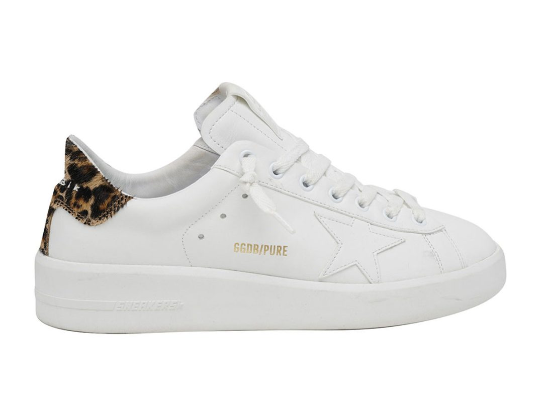 White and leopard print Golden Goose sneakers