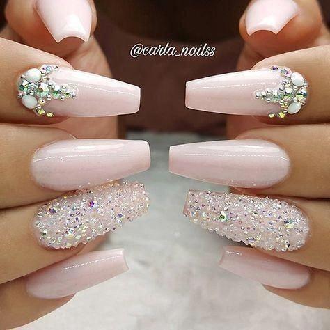 Cute light pink graduation nails with rhinestones