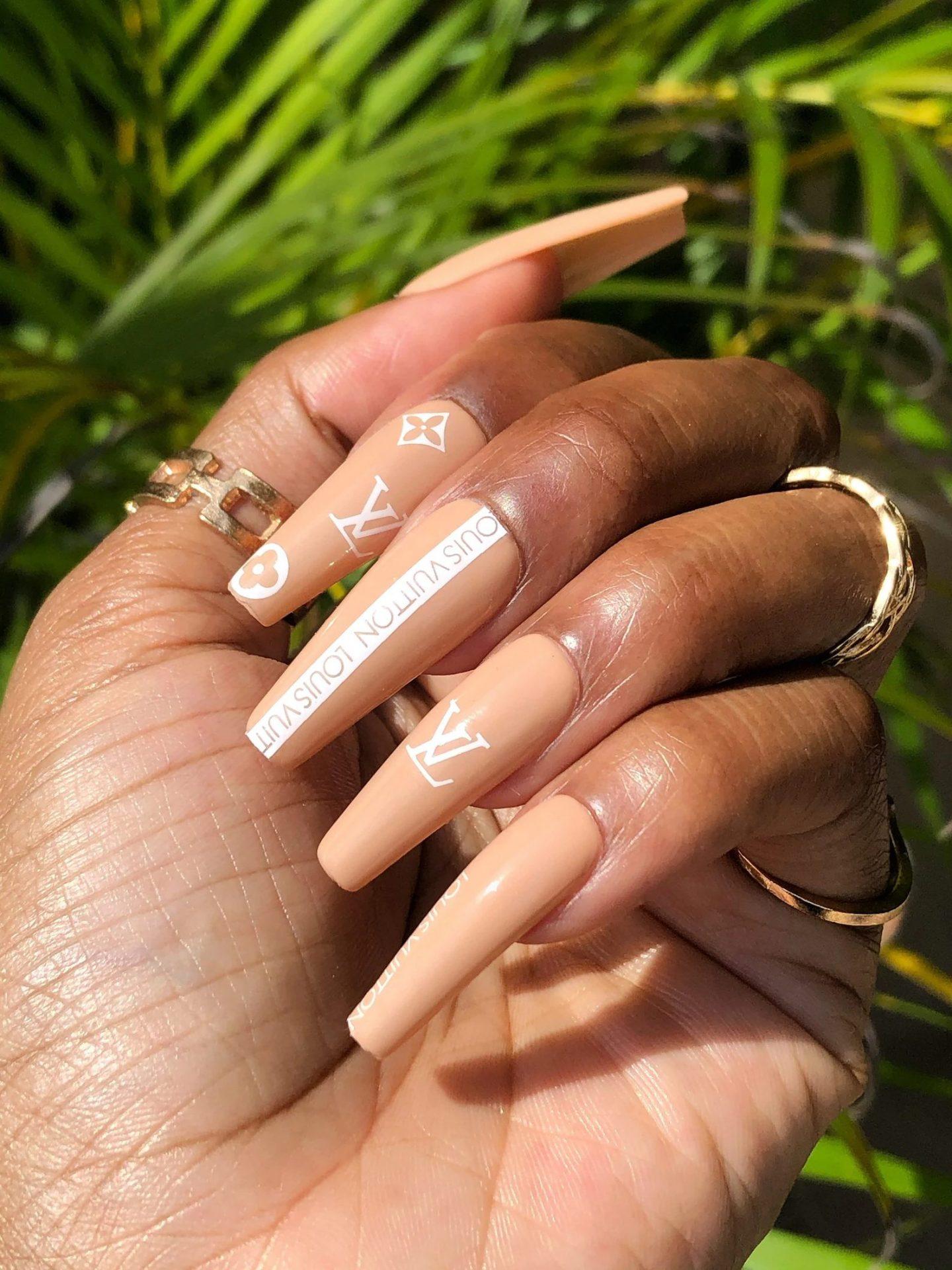 Nude designer inspired coffin nails