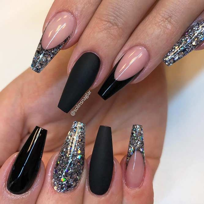 Matte black French tip nails with gun metal glitter