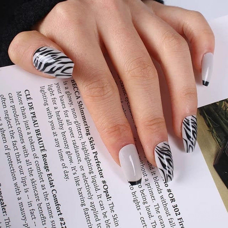 Light grey zebra nail art