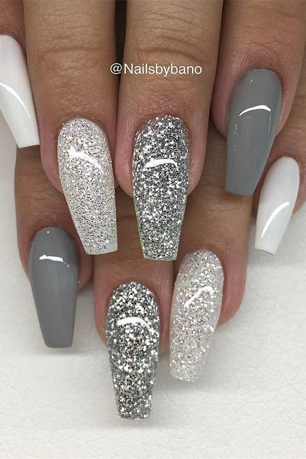 Cute dark grey and silver nails with glitter