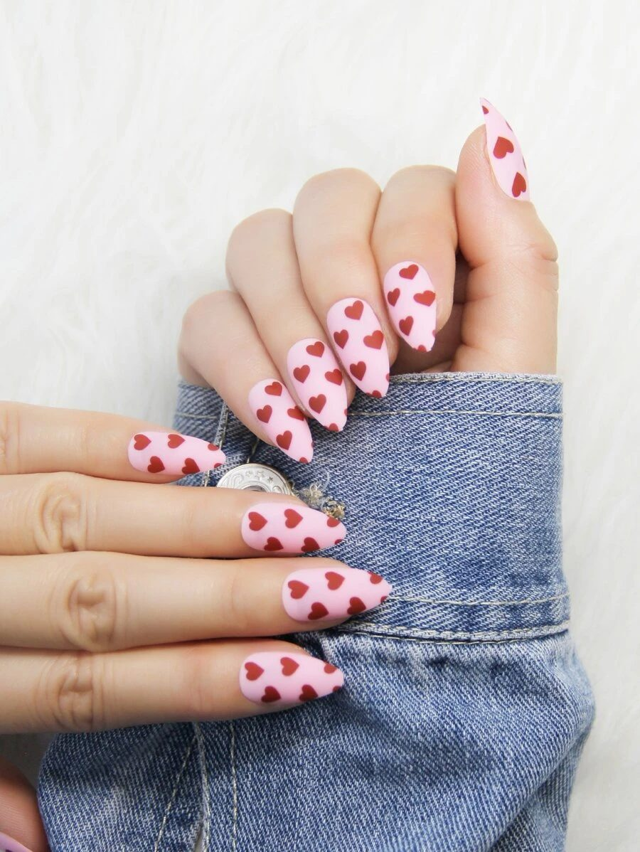 Matte pink and red hearts nails