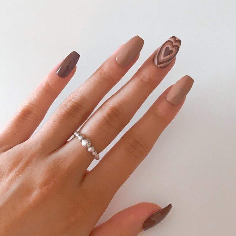 Brown ombre nails with retro hearts nail art