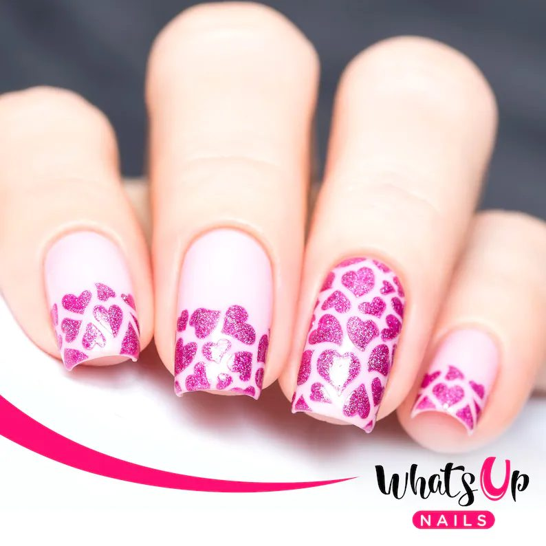 Cute pink heart nail with glitter
