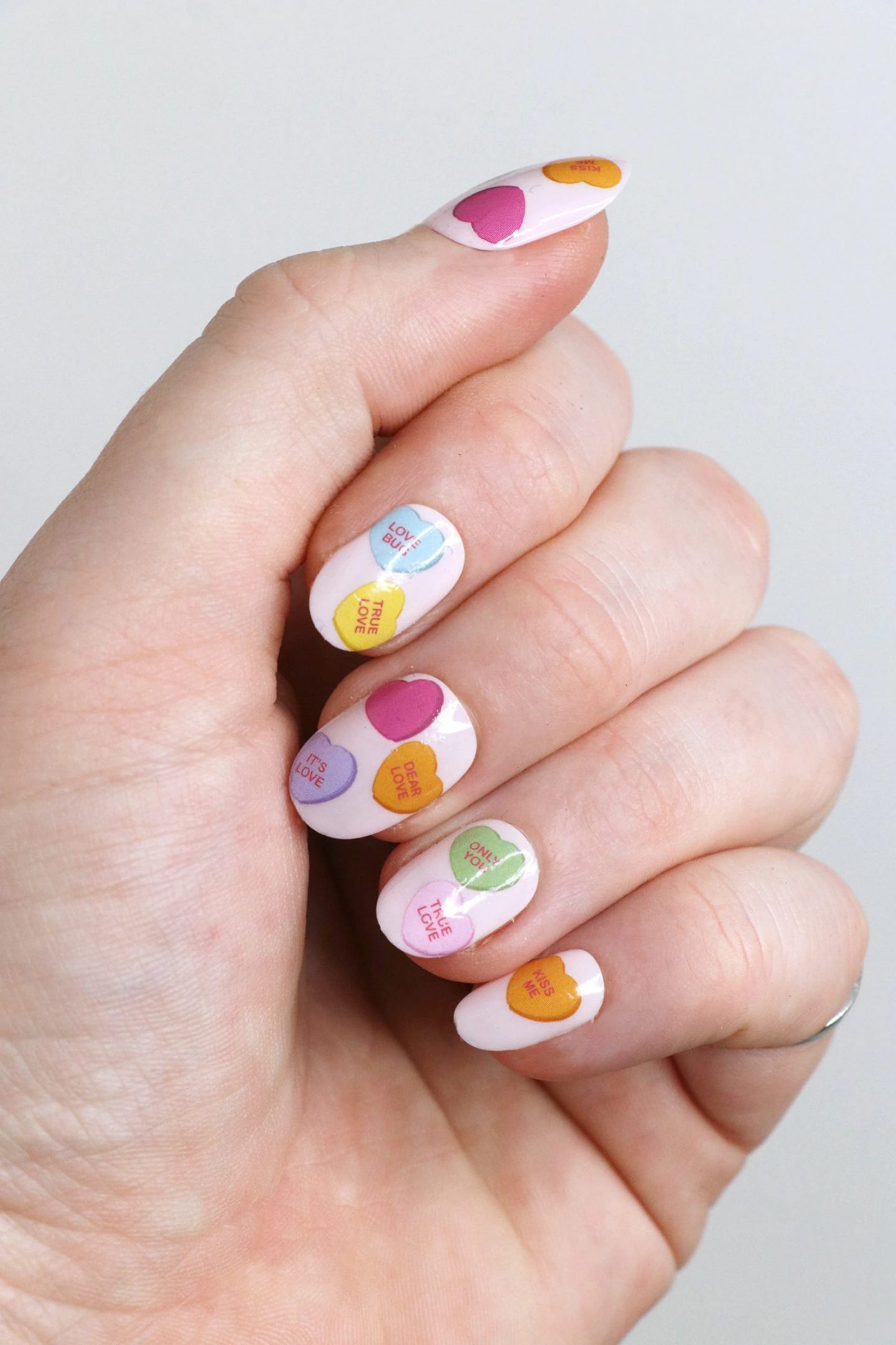 Cute short candy hearts nails