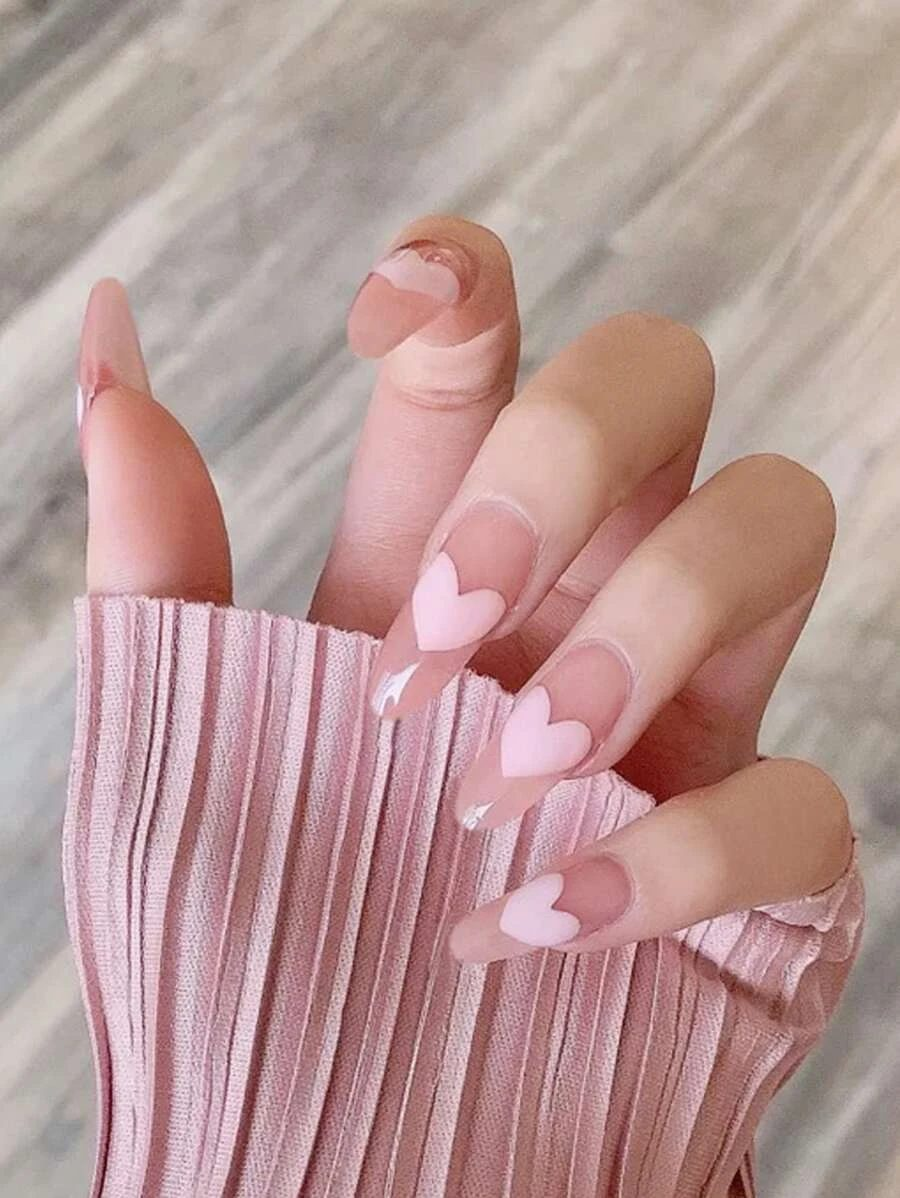 Cute long nude coffin nails with light pink hearts