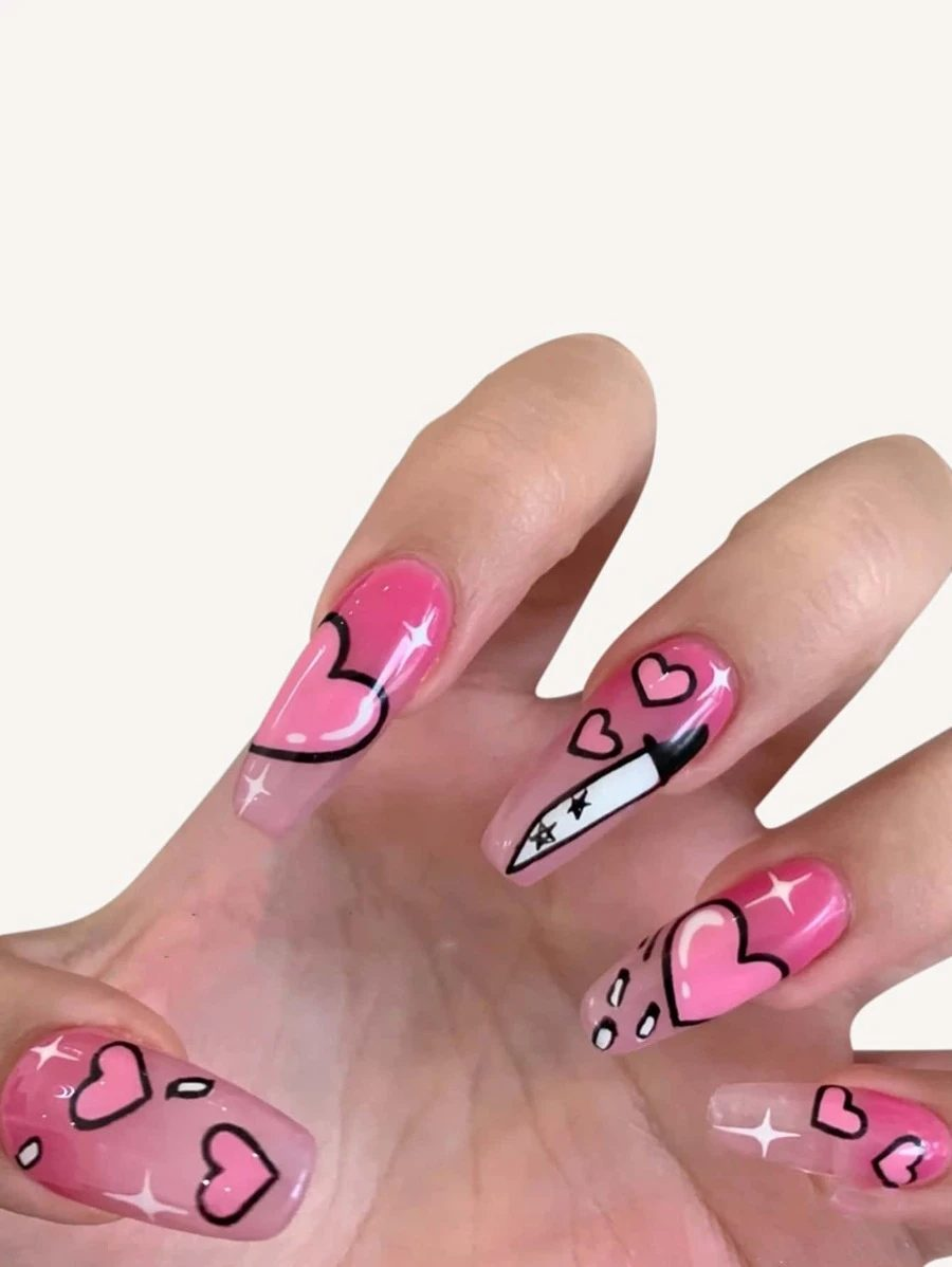 Hot pink jelly nails with heart nail art