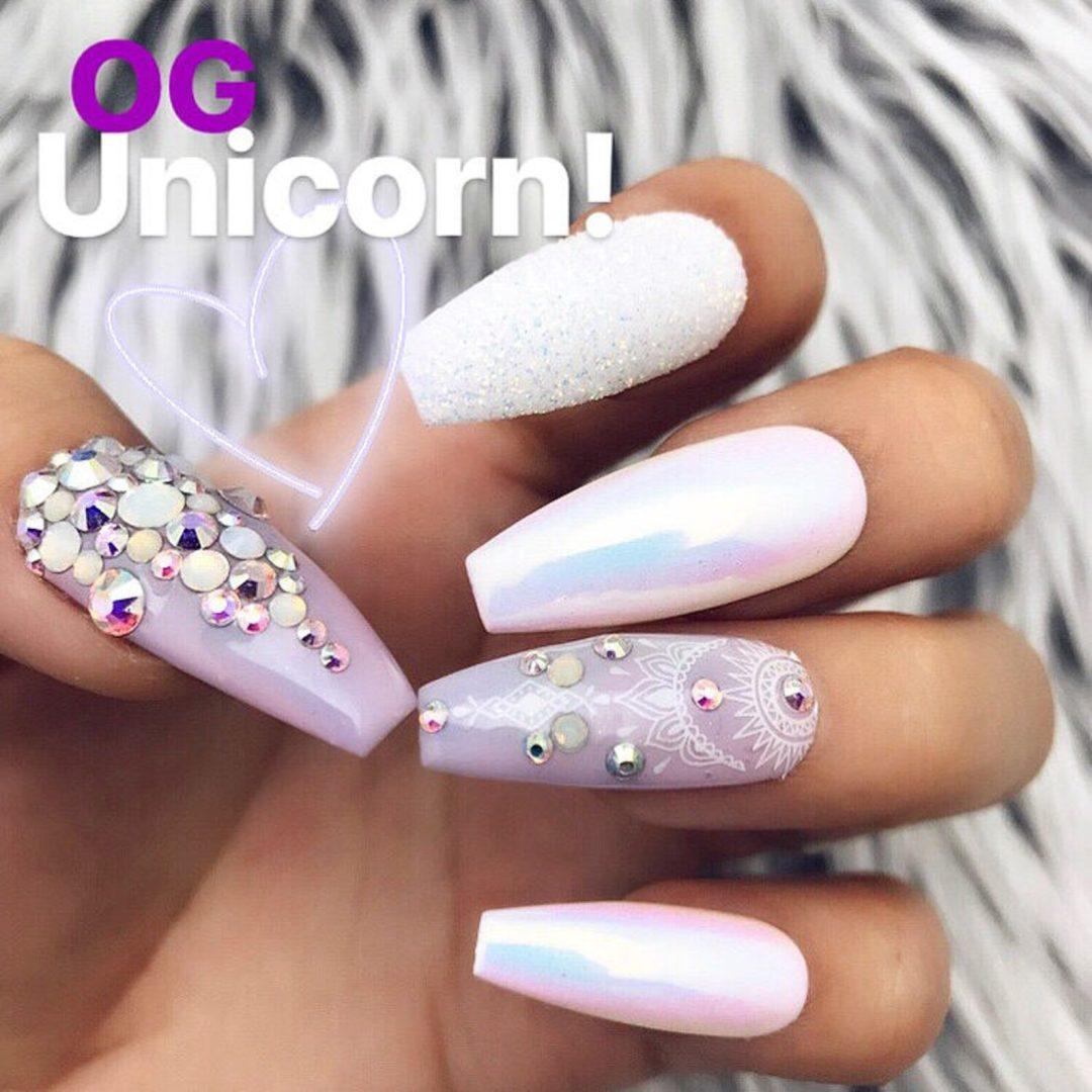 Holographic unicorn chrome nails with rhinestones