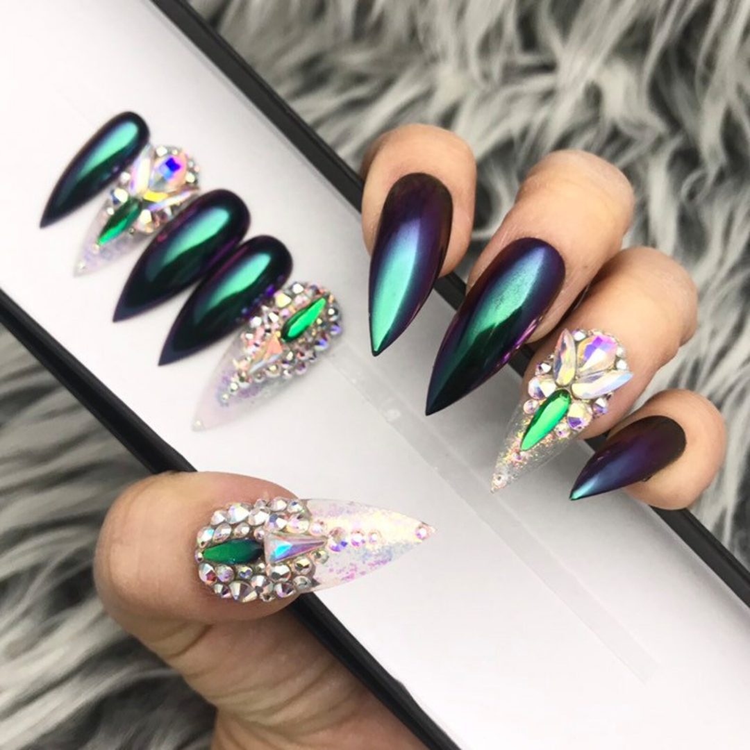 Green chrome nails with rhinestones