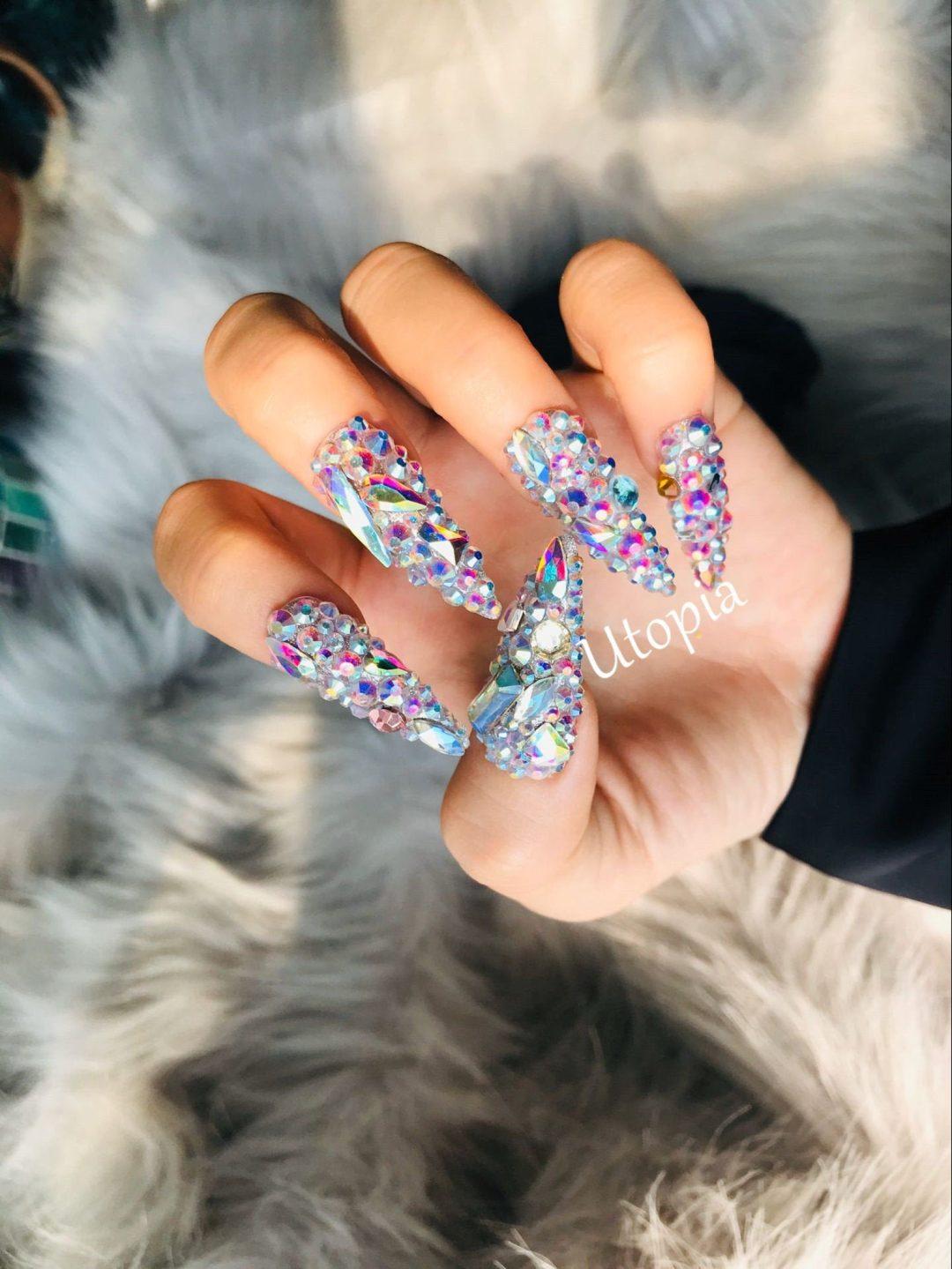 Rhinestone birthday nails