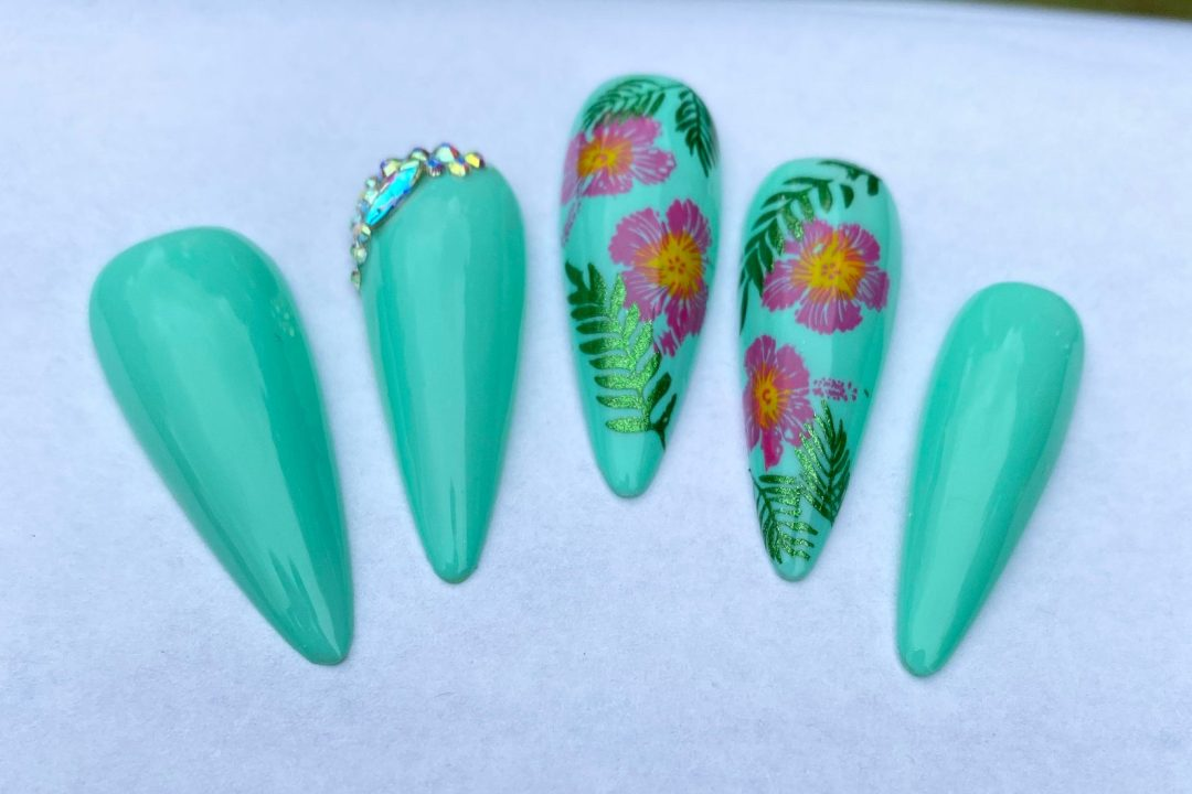 Mint green tropical nails