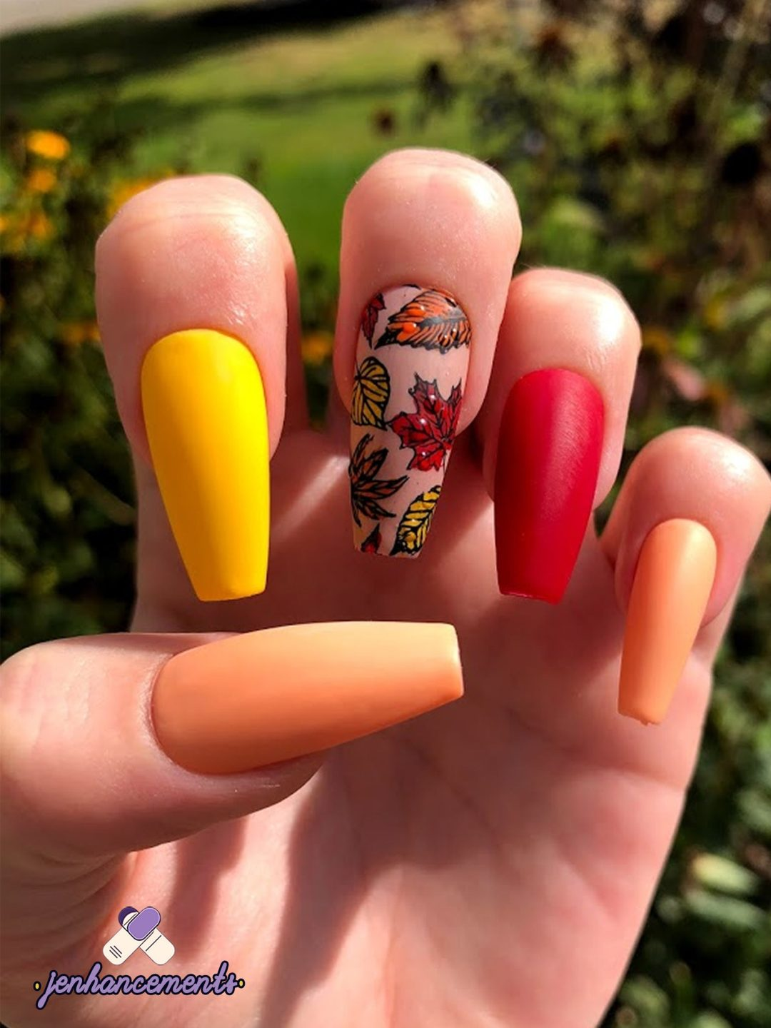 Ombre fall nails with autumn leaves
