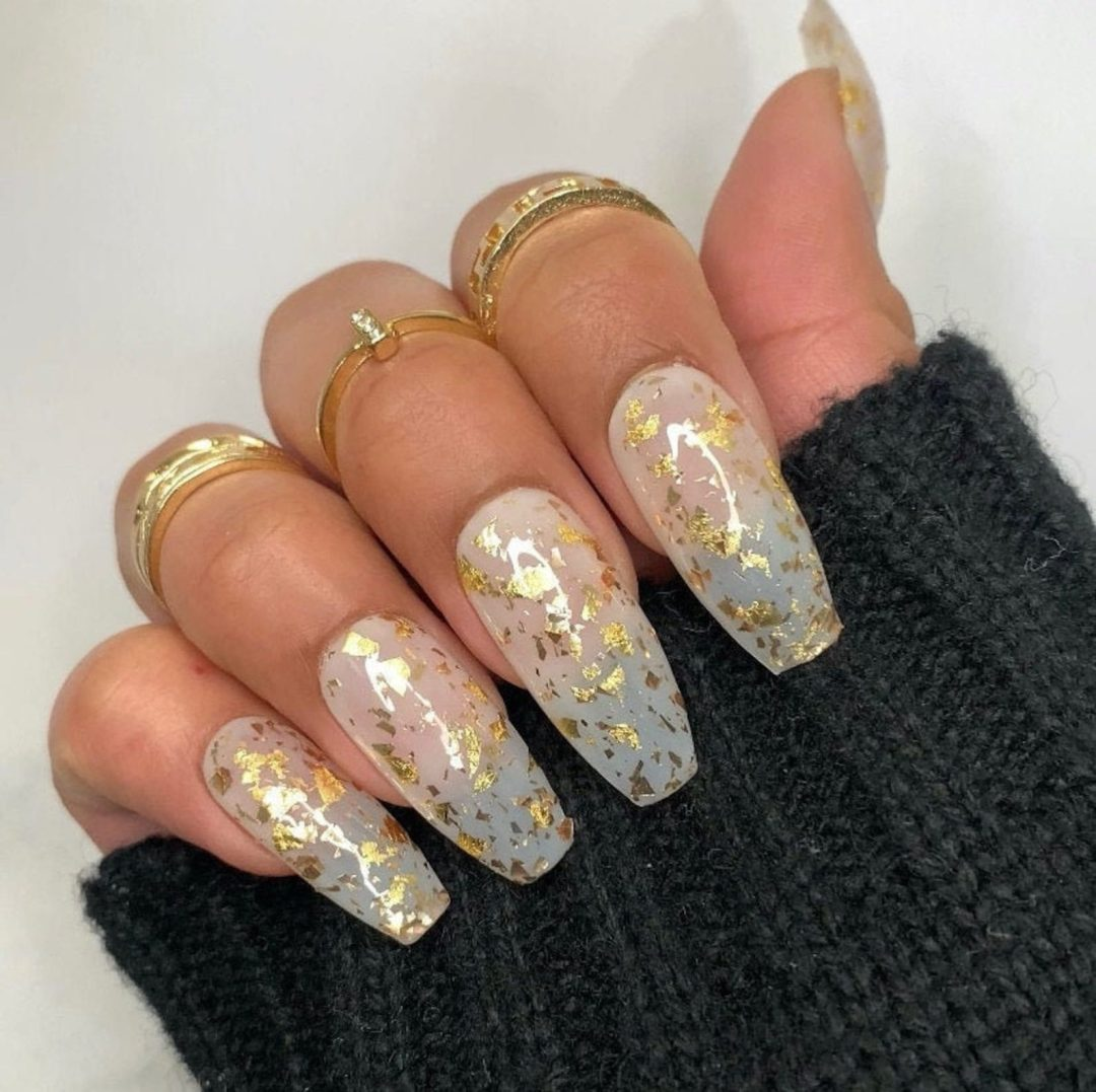 Gold foil nails for New Years Eve nails