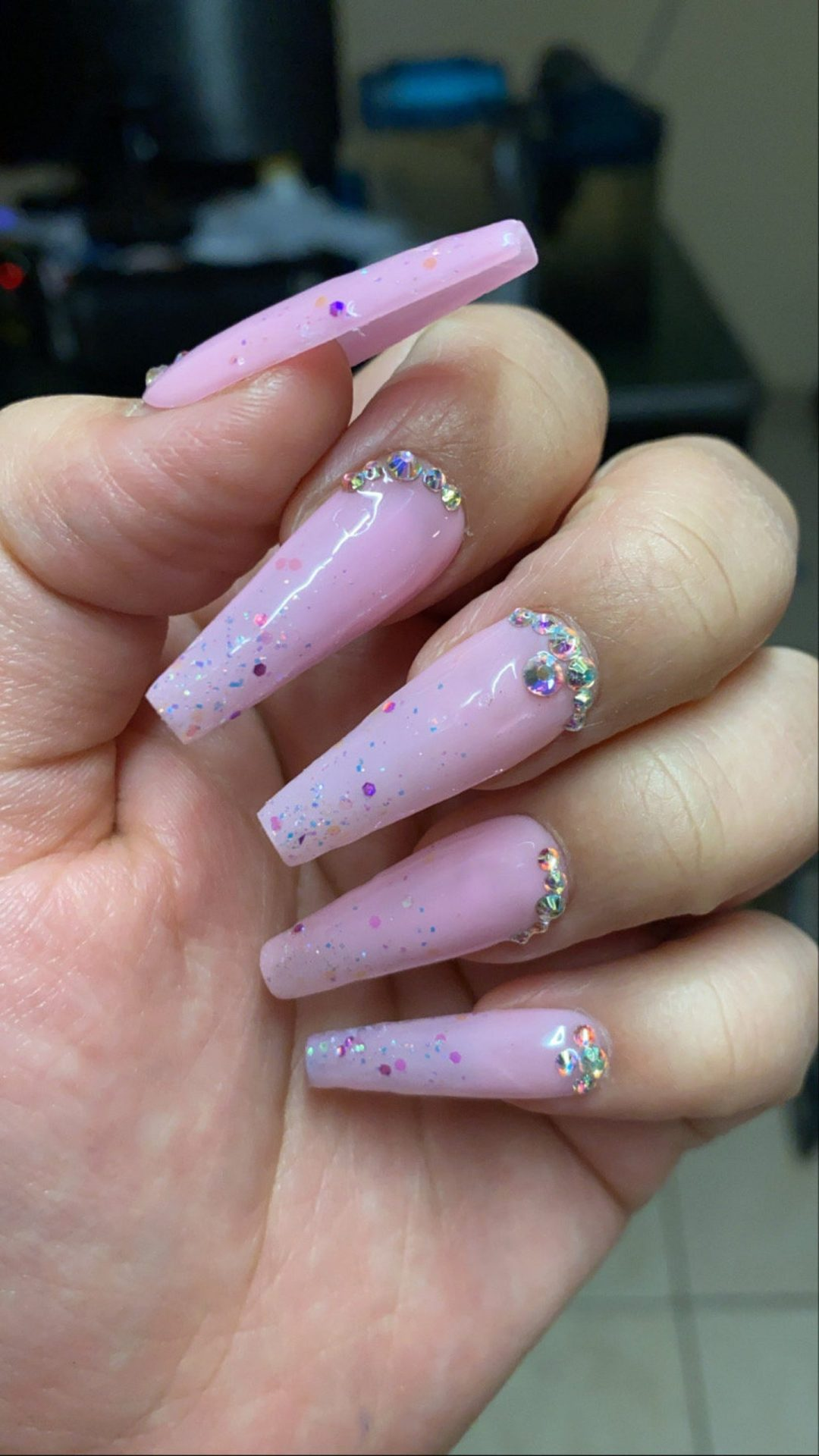 Baby pink confetti nails with rhinestones