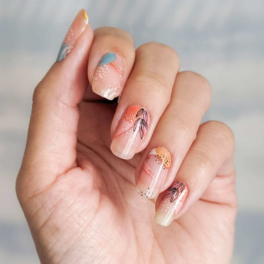 Clear floral abstract nails