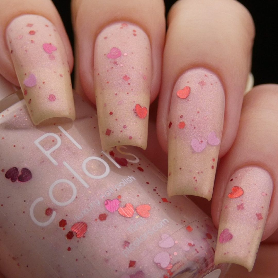 nail polish with heart decals